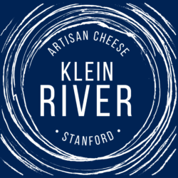 Klein River cheese logo final blue & white writing blue background